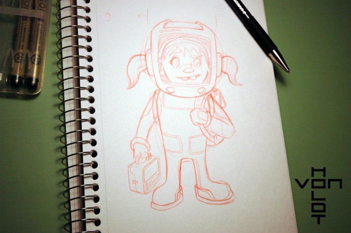 space girl pencils